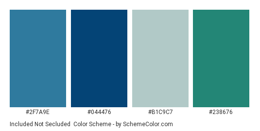 Included not Secluded - Color scheme palette thumbnail - #2f7a9e #044476 #b1c9c7 #238676