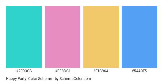 Happy Party - Color scheme palette thumbnail - #2fd3cb #e88dc1 #f1c96a #54a0f5