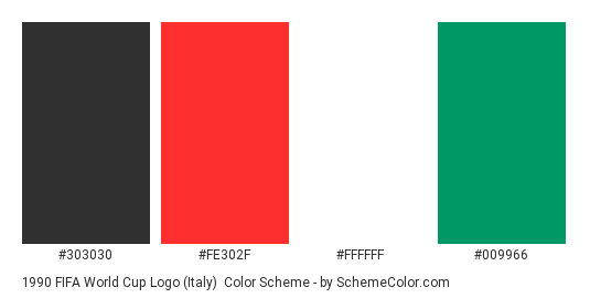 1990 FIFA World Cup Logo (Italy) - Color scheme palette thumbnail - #303030 #fe302f #ffffff #009966