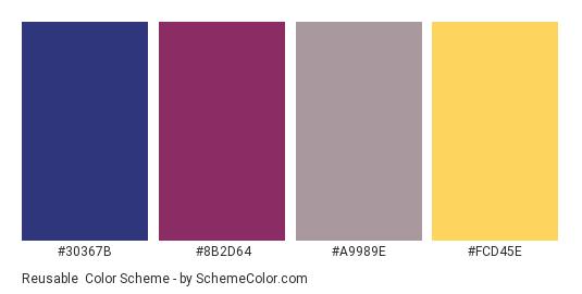 Reusable - Color scheme palette thumbnail - #30367B #8B2D64 #A9989E #FCD45E