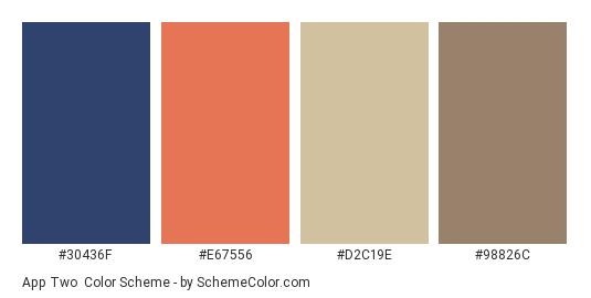 App two - Color scheme palette thumbnail - #30436F #E67556 #D2C19E #98826C