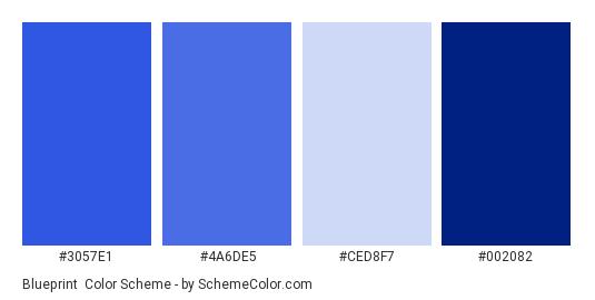 Blueprint - Color scheme palette thumbnail - #3057E1 #4A6DE5 #CED8F7 #002082