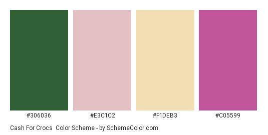 Cash For Crocs - Color scheme palette thumbnail - #306036 #E3C1C2 #F1DEB3 #C05599