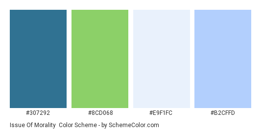 Issue of Morality - Color scheme palette thumbnail - #307292 #8CD068 #E9F1FC #B2CFFD