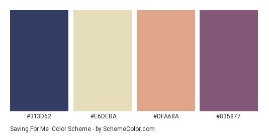 Saving for Me - Color scheme palette thumbnail - #313d62 #e6deba #dfa68a #835877