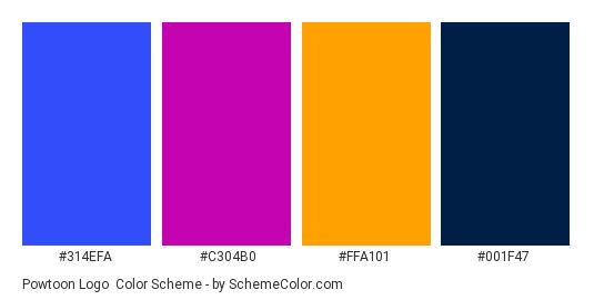 Powtoon Logo - Color scheme palette thumbnail - #314efa #c304b0 #ffa101 #001f47