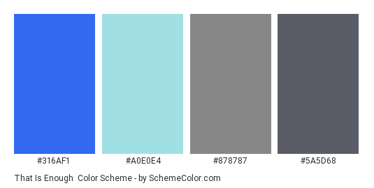 That is Enough - Color scheme palette thumbnail - #316AF1 #A0E0E4 #878787 #5A5D68