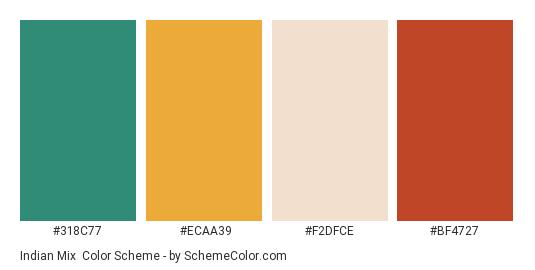 Indian Mix - Color scheme palette thumbnail - #318C77 #ECAA39 #F2DFCE #BF4727