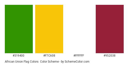 African Union Flag Colors - Color scheme palette thumbnail - #319400 #f7c608 #ffffff #952038