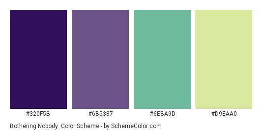Bothering Nobody - Color scheme palette thumbnail - #320F5B #6B5387 #6EBA9D #D9EAA0