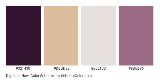 Dignified Now - Color scheme palette thumbnail - #321430 #dbbd9e #e6e1dd #9b6b86