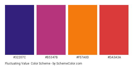 Fluctuating Value - Color scheme palette thumbnail - #32207c #b5347b #f57a0d #da3a3a