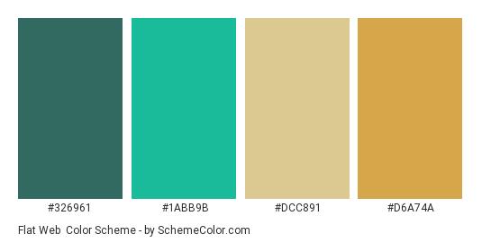 Flat Web - Color scheme palette thumbnail - #326961 #1abb9b #dcc891 #d6a74a