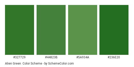 Alien Green - Color scheme palette thumbnail - #327729 #44823b #5a934a #236e20