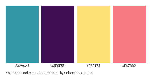 You Can't Fool Me - Color scheme palette thumbnail - #3296A6 #3E0F55 #FBE175 #F67882