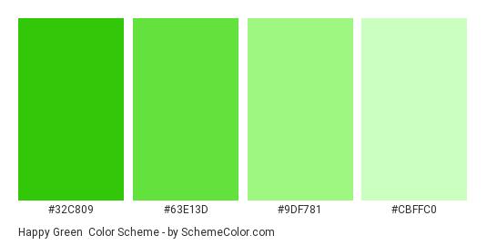 Happy Green - Color scheme palette thumbnail - #32c809 #63e13d #9df781 #cbffc0