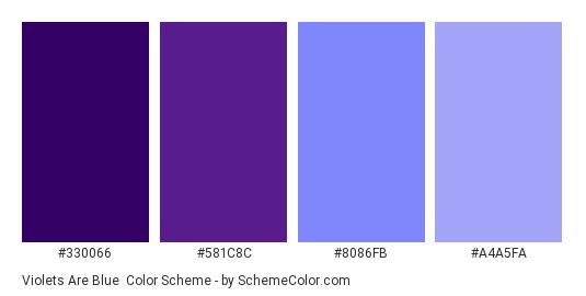 Violets Are Blue - Color scheme palette thumbnail - #330066 #581c8c #8086fb #a4a5fa