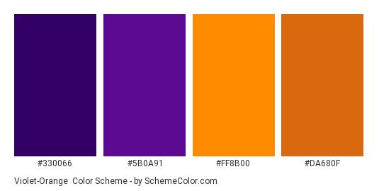 Violet-Orange - Color scheme palette thumbnail - #330066 #5B0A91 #FF8B00 #DA680F