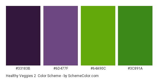 Healthy Veggies 2 - Color scheme palette thumbnail - #33183b #6d477f #64a90c #3c891a