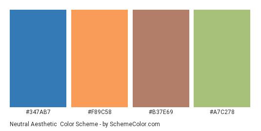 Neutral Aesthetic - Color scheme palette thumbnail - #347ab7 #f89c58 #b37e69 #a7c278