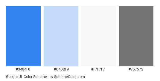 Google UI - Color scheme palette thumbnail - #3484F0 #C4DBFA #F7F7F7 #757575
