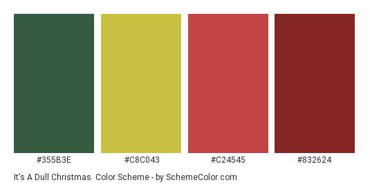 It's a Dull Christmas - Color scheme palette thumbnail - #355B3E #C8C043 #C24545 #832624