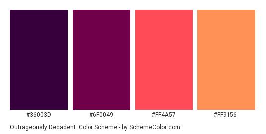 Outrageously Decadent - Color scheme palette thumbnail - #36003D #6F0049 #FF4A57 #ff9156