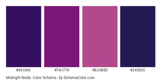 Midnight Mode - Color scheme palette thumbnail - #361060 #7A1778 #B2488D #241B55