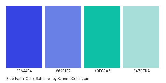 Blue Earth - Color scheme palette thumbnail - #3644E4 #6981E7 #0EC0A6 #A7DEDA
