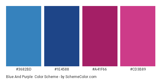 Blue And Purple Color Scheme Palette Thumbnail 3682bd 1e4588 A41f66
