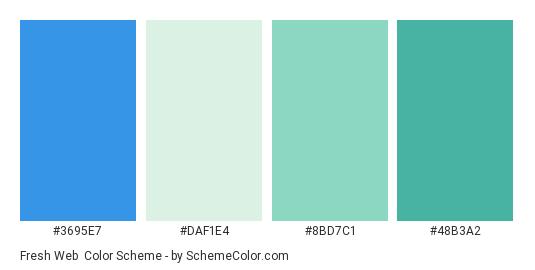 Fresh Web - Color scheme palette thumbnail - #3695E7 #DAF1E4 #8BD7C1 #48B3A2