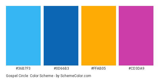 Gospel Circle - Color scheme palette thumbnail - #36B7F3 #0D66B3 #FFAB05 #CD3DA9
