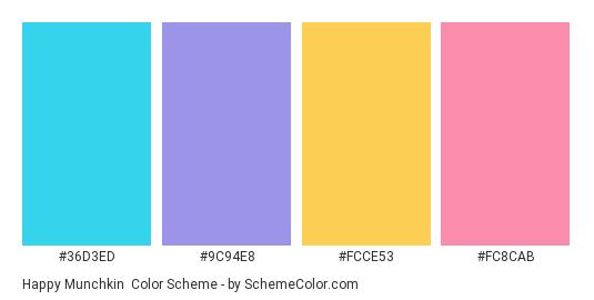 Happy Munchkin - Color scheme palette thumbnail - #36d3ed #9c94e8 #fcce53 #fc8cab