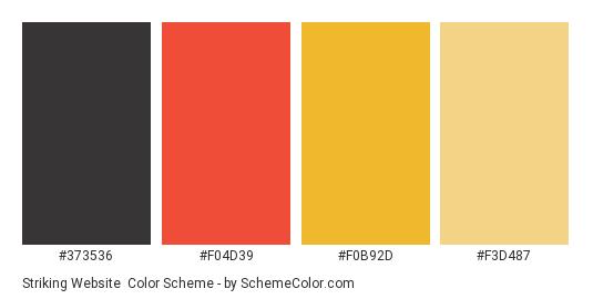Striking Website - Color scheme palette thumbnail - #373536 #f04d39 #f0b92d #f3d487