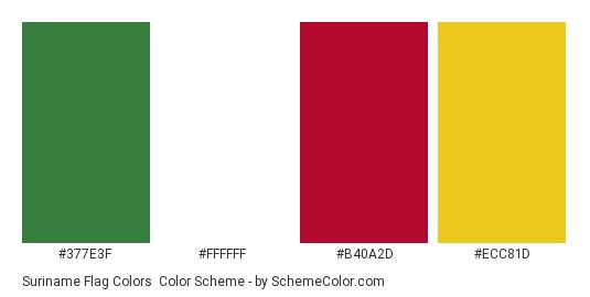 Suriname Flag Colors - Color scheme palette thumbnail - #377E3F #FFFFFF #B40A2D #ECC81D