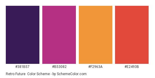 Retro Future - Color scheme palette thumbnail - #381B57 #B53082 #F2963A #E2493B