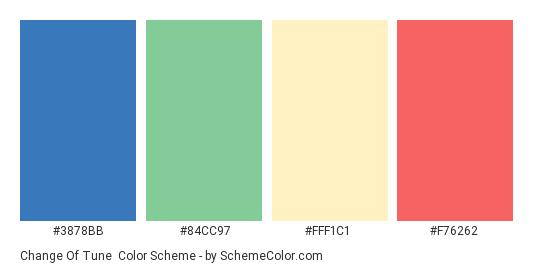 Change of Tune - Color scheme palette thumbnail - #3878bb #84cc97 #fff1c1 #f76262