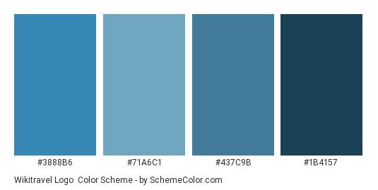 Wikitravel Logo - Color scheme palette thumbnail - #3888B6 #71A6C1 #437C9B #1B4157