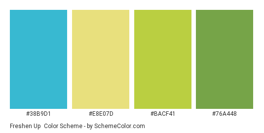 Freshen Up - Color scheme palette thumbnail - #38b9d1 #e8e07d #bacf41 #76a448