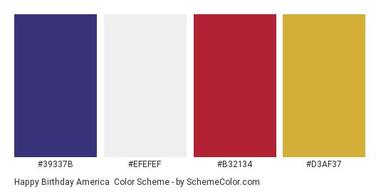 Happy Birthday America - Color scheme palette thumbnail - #39337B #efefef #B32134 #D3AF37