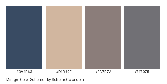Mirage - Color scheme palette thumbnail - #394b63 #d1b69f #8b7d7a #717075