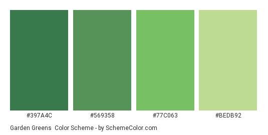 Garden Greens - Color scheme palette thumbnail - #397a4c #569358 #77c063 #bedb92