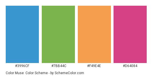 Color Muse - Color scheme palette thumbnail - #3996cf #7bb44c #f49e4e #d64084