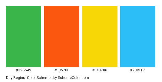 Day Begins - Color scheme palette thumbnail - #39B549 #FC570F #F7D706 #2CBFF7