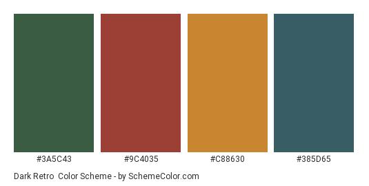 Dark Retro - Color scheme palette thumbnail - #3A5C43 #9C4035 #C88630 #385D65