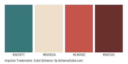 Improve Treatments - Color scheme palette thumbnail - #3A7877 #EDDECA #C4554C #68312C