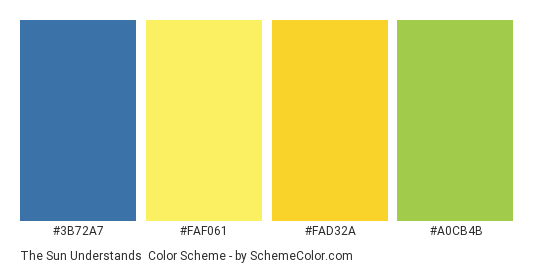 The Sun Understands - Color scheme palette thumbnail - #3B72A7 #FAF061 #FAD32A #A0CB4B