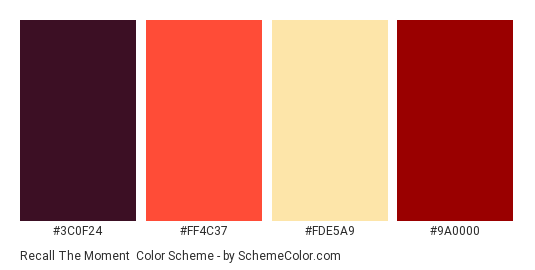 Recall the Moment - Color scheme palette thumbnail - #3C0F24 #FF4C37 #FDE5A9 #9A0000