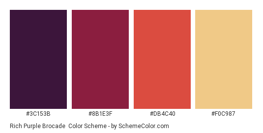Rich Purple Brocade Color Scheme Palette Thumbnail 3c153b 8b1e3f Db4c40