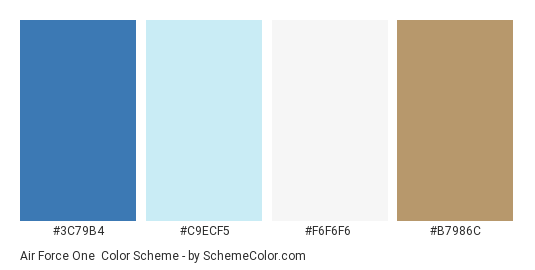 Air Force One - Color scheme palette thumbnail - #3C79B4 #C9ECF5 #F6F6F6 #B7986C